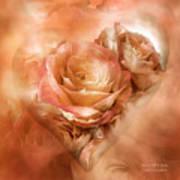 Heart Of A Rose - Gold Bronze Art Print