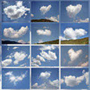 Heart Shaped Clouds - Collage Art Print