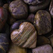 Heart Stone On River Rocks Art Print