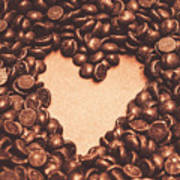 Hearts And Chocolate Drops. Valentines Background Art Print