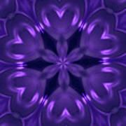Hearts Of Purple Kaleidoscope Art Print