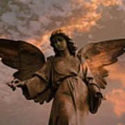 Heavenly Spiritual Angel Wings Sunset Sky  Art Print by Kathy Fornal