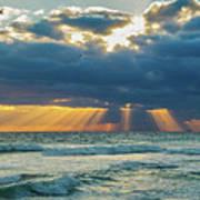 Heavenly Sunrise Panorama At Riviera Beach  Art Print