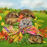 Hedgehogs Inside Scarf Art Print