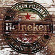 Heineken Beer Wood Sign 1a Art Print