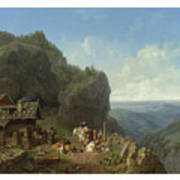 Heinrich Burkel 1802 - 1869 German Wirtshaus Auf Der Alm Mit Alpzug Tavern In The Alps Art Print
