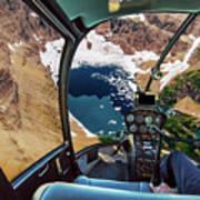 Helicopter On Glacier National Park Art Print