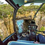 Helicopter On Tasman Arch Art Print