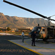 Helicopter Tours Of Cape Town And Table Mountain Print by Andy Smy
