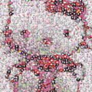 Hello Kitty Button Mosaic Art Print