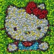 Hello Kitty Mm Candy Mosaic Art Print