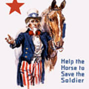 Help The Horse To Save The Soldier Art Print