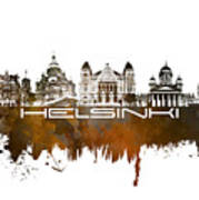 Helsinki Skyline City Brown Art Print