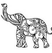 Henna Elephant 2 Poster By Ricky Barnard