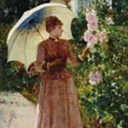 Henri Emile De Sachy France 19th Century Elegant Young Lady In The Garden Walk At Hollyhocks Art Print