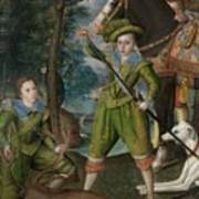 Henry Frederick 15941612 Prince Of Wales With Sir John Harington 15921614 In The Hunting Field Art Print