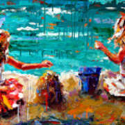 Her Blue Bucket Art Print