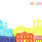 Heraklion Skyline Pop Art Print