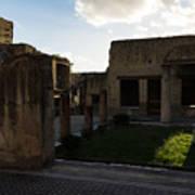 Herculaneum Ruins - Mosaic Tile Streets And Sun Splashes Art Print