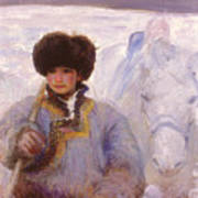 Herder And His Horse    Art Print
