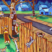 Herding Cats - Pembroke Welsh Corgi Art Print by Lyn Cook
