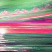 Here It Goes In Teal And Magenta Panoramic Sunset Art Print