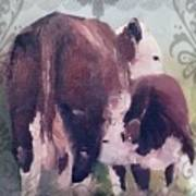 Hereford Cow Calf Art Print