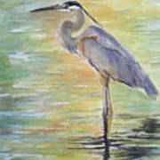 Heron At The Lagoon Art Print by Patricia Pushaw
