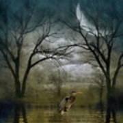 Heron By Moon Glow  Art Print
