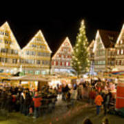 Herrenberg Christmas Market At Night Print by Greg Dale