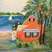 Hibiscus Beach House Art Print