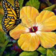 Hibiscus With Monarch Art Print