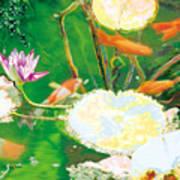 Hide And Seek Kio In The Green Pond Art Print