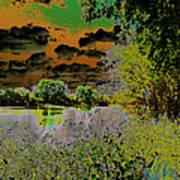 High Contrast River Sunset Art Print