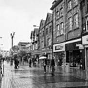 High Street Rhyl On A Wet Summers Day North Wales Uk Art Print
