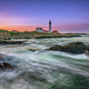 High Tide At Portland Head Lighthouse Art Print