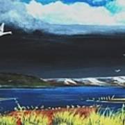 High Tide Swans Art Print