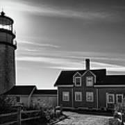 Highland Lighthouse Bw Art Print