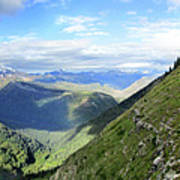 Highline Trail Overlooking Going To The Sun Road - Glacier National Park Art Print