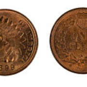 Highly Graded American Indian Head Cents On White Background  Art Print