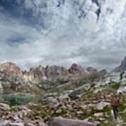 Hiker At Twin Lakes - Chicago Basin - Weminuche Wilderness - Colorado Art Print