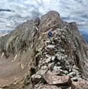 Hiker On Mt Eolus Catwalk - Chicago Basin - Weminuche Wilderness - Colorado Art Print