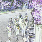 Hiking Down The Street I  Painterly Glowing Edges Invert  Art Print