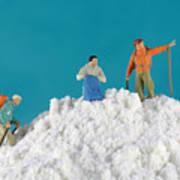 Hiking On Flour Snow Mountain Print by Paul Ge