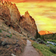 Hiking Trail At Smith Rock State Park Art Print