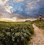 Hill Road To A Lighthouse H A Art Print