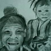 Hill Tribe Lady And Child Art Print