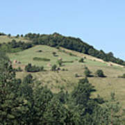 Hill With Haystack And Trees Landscape Art Print
