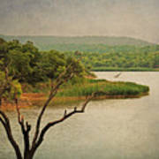 Hills And Lake In The Spring Art Print