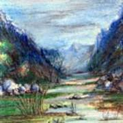 Hills Mountain And A Stream Art Print